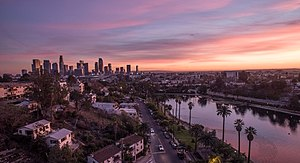Photo of Echo Park Lake with Downtown Los Angeles Skyline