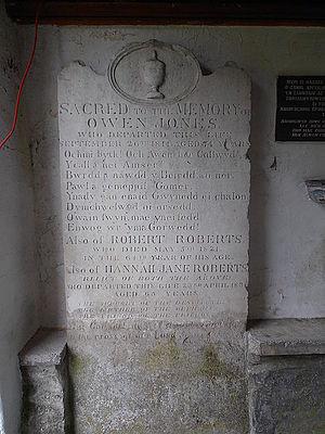 Owen Jones (antiquary) - Owain Myfyr's gravestone, Llanfihangel Glyn Myfyr