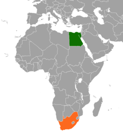 Map indicating locations of Egypt and South Africa