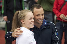 Eleanor Simmonds and Oscar Pistorius at International Paralympic Day, Trafalgar Square, London - 20110908.jpg