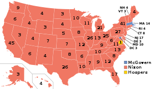 Map of the United States, showing Nixon's victories in 49 states (red) over McGovern.