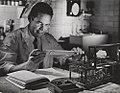 Employee with slide rule, Hercules Powder Co. Experiment Station, Wilmington, DE (8568743839).jpg