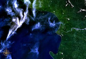 Empress Augusta Bay - Empress Augusta Bay seen from space