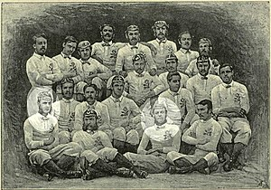 Ravenscourt Park Football Club - 1871 England squad with Ravenscourt Park players A. Davenport (left) and J. M. Dugdale (right) highlighted