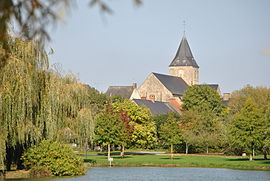 The lake and the church of Sainte-Corneille and Saint-Cyprien
