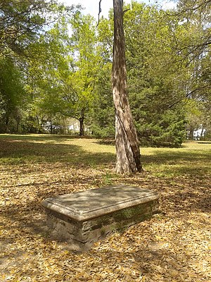 Eutaw Springs Battleground Park - Grave of John Marjoribanks at Eutaw Springs Battleground Park; it was moved to the site in 1948 when its original location was flooded by the creation of Lake Marion