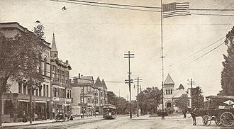 Everett, Massachusetts - View of Everett Square in 1902