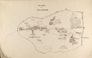 Siege of Bijapur - A map of Bijapur Fort.