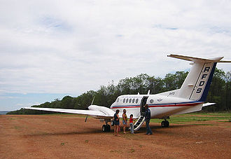 Royal Flying Doctor Service of Australia - An RFDS Beechcraft Super King Air on a remote airstrip