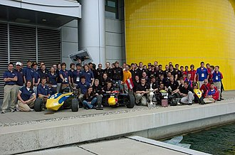 Formula SAE - The 2007 design finalist cars; from the left, University of Michigan - Ann Arbor, TU Graz, University of Wisconsin - Madison, and Kansas. Absent is the Pennsylvania State University