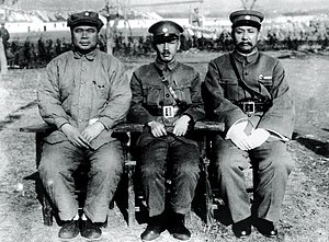 Feng Yuxiang - Feng Yuxiang, Chiang Kai-sek and Yan Xishan, 1928, erstwhile allies prior to the outbreak of the Central Plains War.