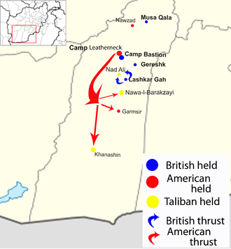 Operation Strike of the Sword - Operation Strike of the Sword in red; Operation Panther's Claw in blue