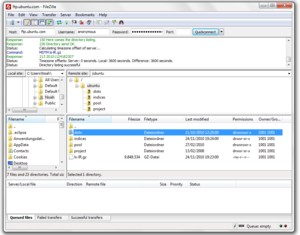 Screenshot of FileZilla 3.0.7.1 on Ubuntu