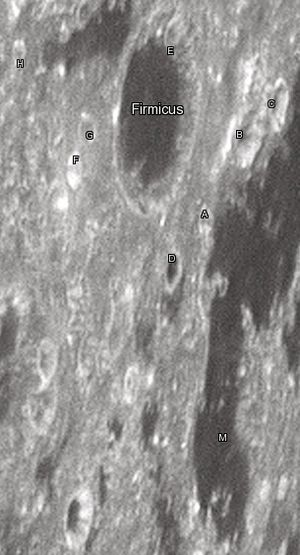 "Firmicus (crater) - Firmicus crater and its satellite craters taken from Earth in 2012 at the University of Hertfordshire's Bayfordbury Observatory with the telescopes Meade LX200 14"" and Lumenera Skynyx 2-1"