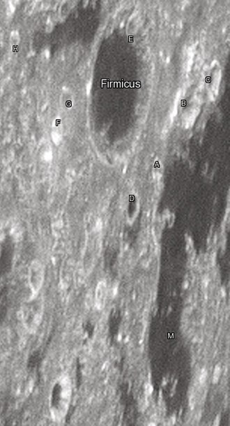 """Firmicus (crater) - Firmicus crater and its satellite craters taken from Earth in 2012 at the University of Hertfordshire's Bayfordbury Observatory with the telescopes Meade LX200 14"""" and Lumenera Skynyx 2-1"""