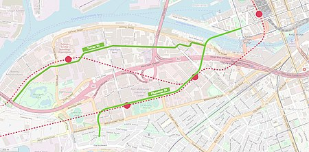 Map showing the two proposed extensions of the tram network through Fishermans Bend