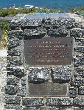 Flinders Bay - Plaque at Point Matthew lookout on road to Cape Leeuwin