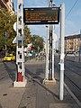 Flip-dot display at 'Móricz Zsigmond körtér M' tram stop, 2018 Szentimreváros.jpg