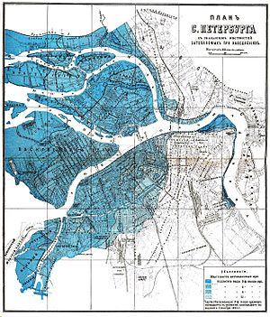 Floods in Saint Petersburg - A map of easily flooded areas of St. Petersburg from Brockhaus and Efron Encyclopedic Dictionary of 1907.