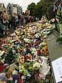 Flowers and tributes for the victims of the Christchurch mosque shootings, Rolleston Avenue, Christchurch.jpg