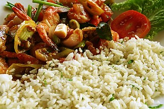 Sri Lankan cuisine - Typical Sri Lankan dish of rice and prawns.
