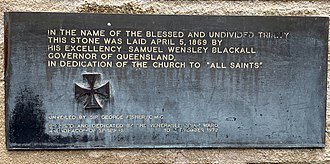 All Saints Anglican Church, Brisbane - Plaque commemorating the dedication of the church by Governor Blackall in 1869