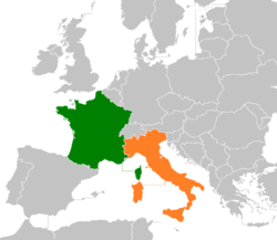 Map indicating locations of France  and  Italy