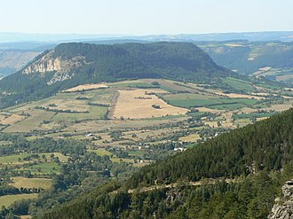 Brenoux - The Truc de Balduc seen from Mont Mimat, Brenoux is in the valley to the left