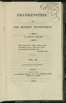 Frankenstein, or the Modern Prometheus (First Edition, 1818) Vol 3.djvu