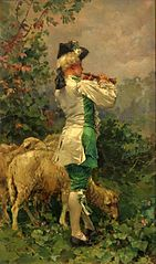 Flutist with sheep