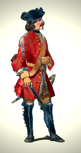 Mounted infantry - A French dragoon (c. 1700).