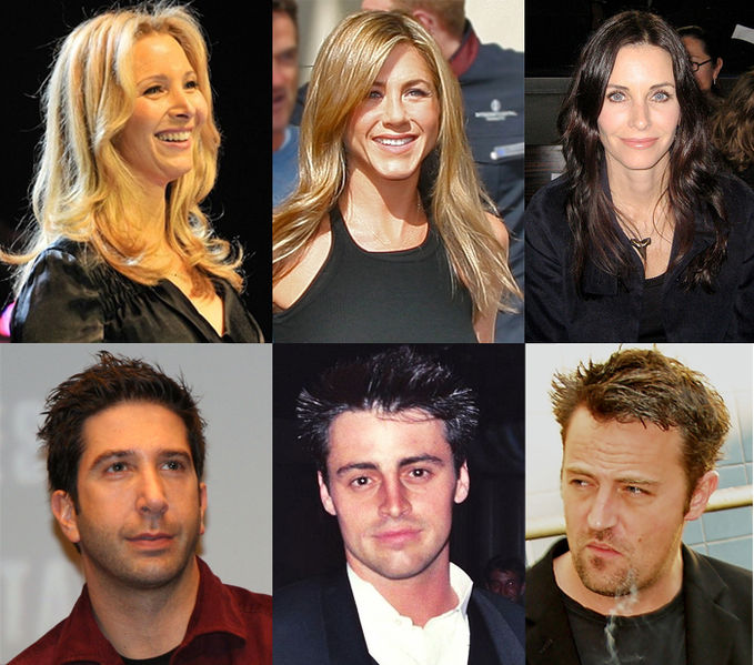 Top row, left to right: Lisa Kudrow, Jennifer Aniston, Courteney Cox Arquette; bottom row, left to right: David Schwimmer, Matt LeBlanc, Matthew Perry