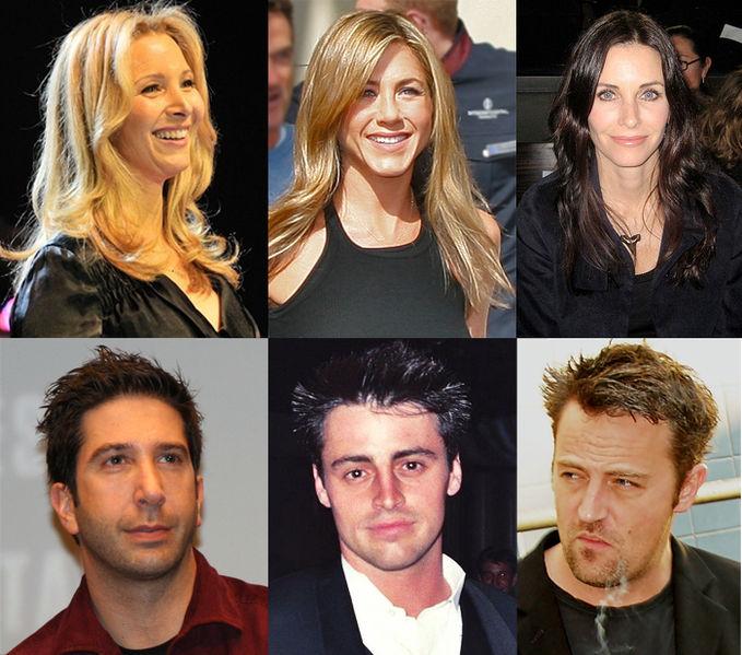 Top row, left to right: Lisa Kudrow, Jennifer Aniston, Courteney Cox Arquette; bottom row, left to right: David Schwimmer, Matt LeBlanc, Matthew Perry