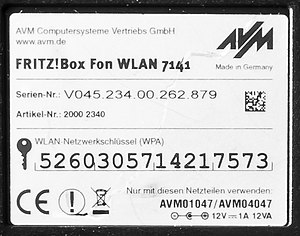 Wi-Fi Protected Access - An example of a Wi-Fi Protected Access label found on a consumer device