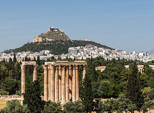 Education in ancient Greece - A view of Athens from the Temple of Olympian Zeus to Mount Lycabettus