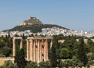 Temple of Olympian Zeus, Athens - The temple as seen from the roof terrace of a nearby hotel, Athens, Greece