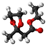 Ball-and-stick model of the fructone molecule