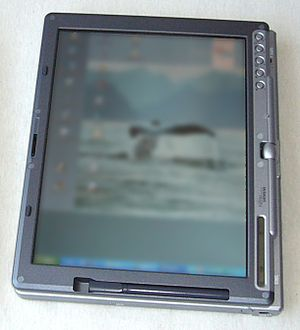Tablet computer - A Fujitsu Siemens Lifebook tablet running Windows XP, released in 2003