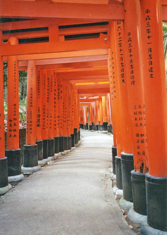 Inari shrine - Red torii along a path at Fushimi Inari-taisha.