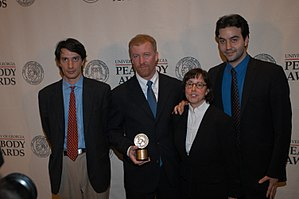 Susan Zirinsky - Gédéon Naudet, James Hanlon, Susan Zirinsky and Jules Naudet posing with the Peabody Award for their film 9/11, May 2003