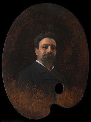 Gaetano Chierici - Self-portrait in the Uffizi Gallery, 1881