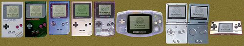The entire Game Boy line. From left to right: Game Boy, Play it Loud Game Boy, Game Boy Pocket, Game Boy Light, Game Boy Color, Game Boy Advance, Game Boy Advance SP, Game Boy Advance SP Mark II (with brighter backlight), Game Boy Micro.