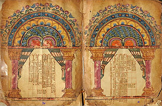Garima Gospels - Two pages with illuminated Eusebian Canons from Garima 1, likely the later of the two Garima Gospels