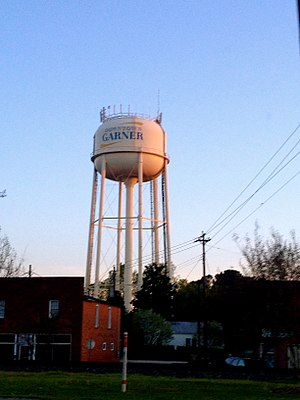 Garner, North Carolina - Water tower over Main Street, Garner