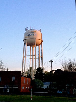 Water tower over Main Street, Garner