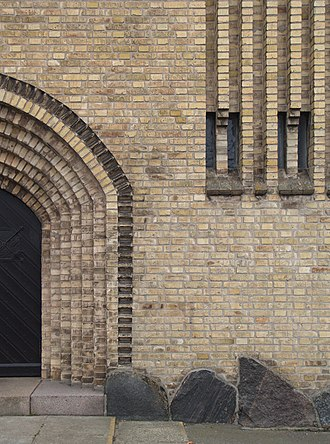 Gedser Church - Image: Gedser Church facade detail