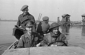 Miles Dempsey - Lieutenant General Dempsey crossing the Rhine in a small boat, March 1945.