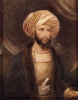 General Sir James Abbott dressed as an Indian noble by B. Baldwin 1841.jpg