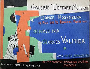 Georges Valmier - Georges Valmier, Galerie de L'Effort Moderne, January 1921
