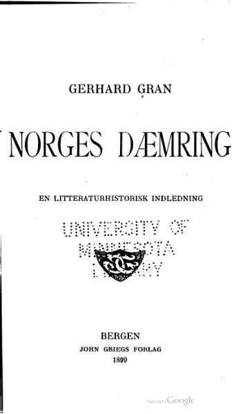 File:Gerhard Gran - Norges dæmring.djvu